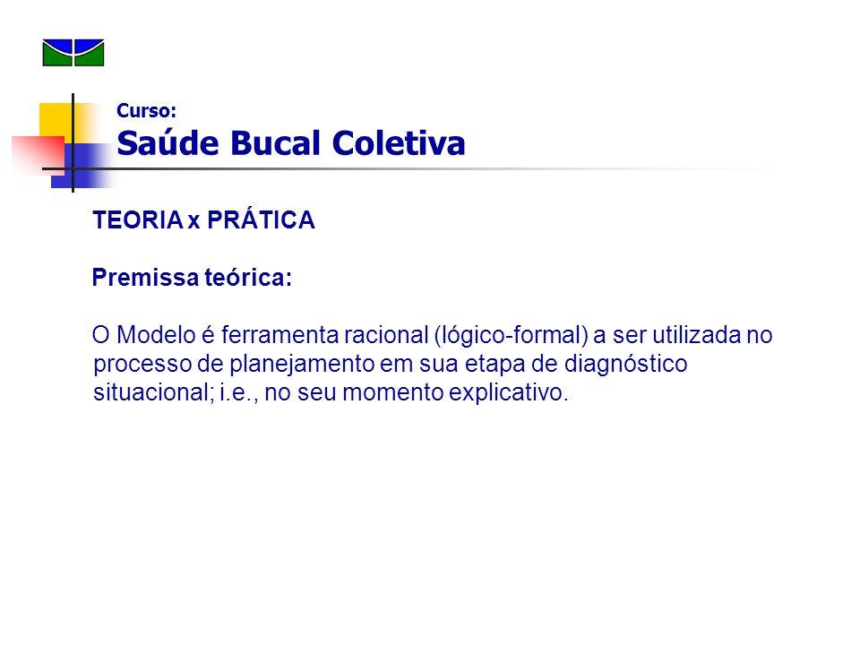 TEORIA x PRÁTICA Premissa teórica: O Modelo é ferramenta racional (lógico-formal) a ser utilizada no processo de planejamento em sua etapa de diagnóst
