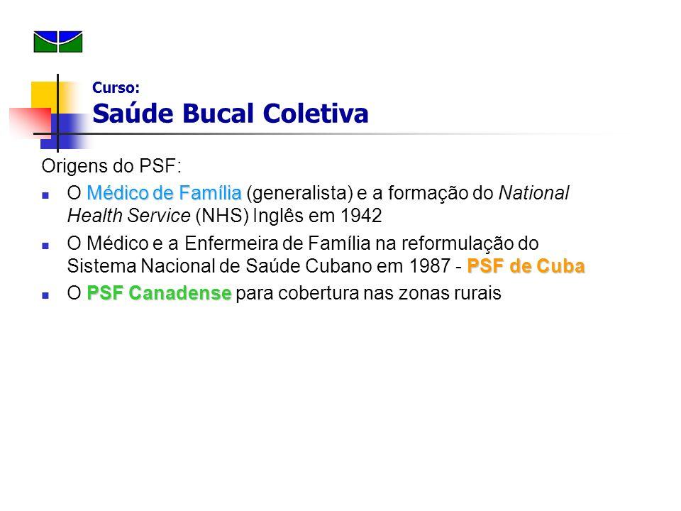 Origens do PSF: Médico de Família O Médico de Família (generalista) e a formação do National Health Service (NHS) Inglês em 1942 PSF de Cuba O Médico