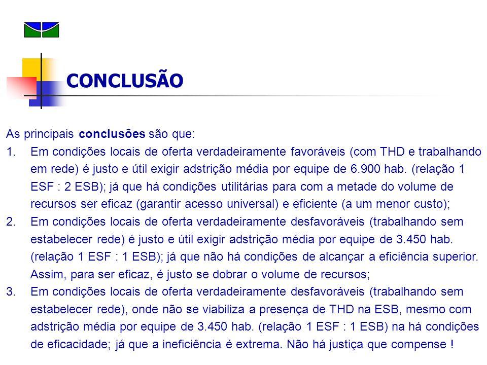 CONCLUSÃO As principais conclusões são que: 1.Em condições locais de oferta verdadeiramente favoráveis (com THD e trabalhando em rede) é justo e útil