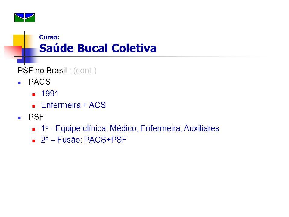 PSF no Brasil : (cont.) PACS 1991 Enfermeira + ACS PSF 1 o - Equipe clínica: Médico, Enfermeira, Auxiliares 2 o – Fusão: PACS+PSF Curso: Saúde Bucal C