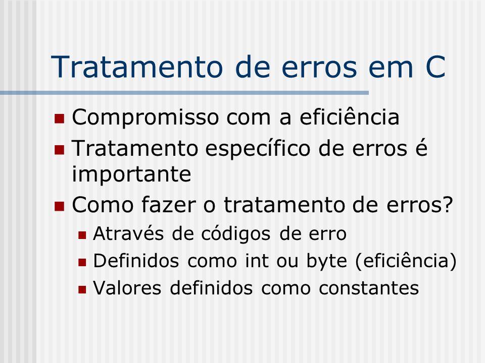 Tratamento de erros em C Compromisso com a eficiência Tratamento específico de erros é importante Como fazer o tratamento de erros? Através de códigos