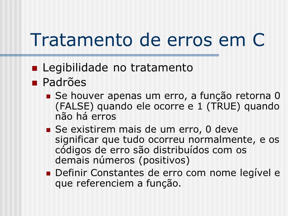 Tratamento de erros em C Legibilidade no tratamento Padrões Se houver apenas um erro, a função retorna 0 (FALSE) quando ele ocorre e 1 (TRUE) quando não há erros Se existirem mais de um erro, 0 deve significar que tudo ocorreu normalmente, e os códigos de erro são distribuídos com os demais números (positivos) Definir Constantes de erro com nome legível e que referenciem a função.
