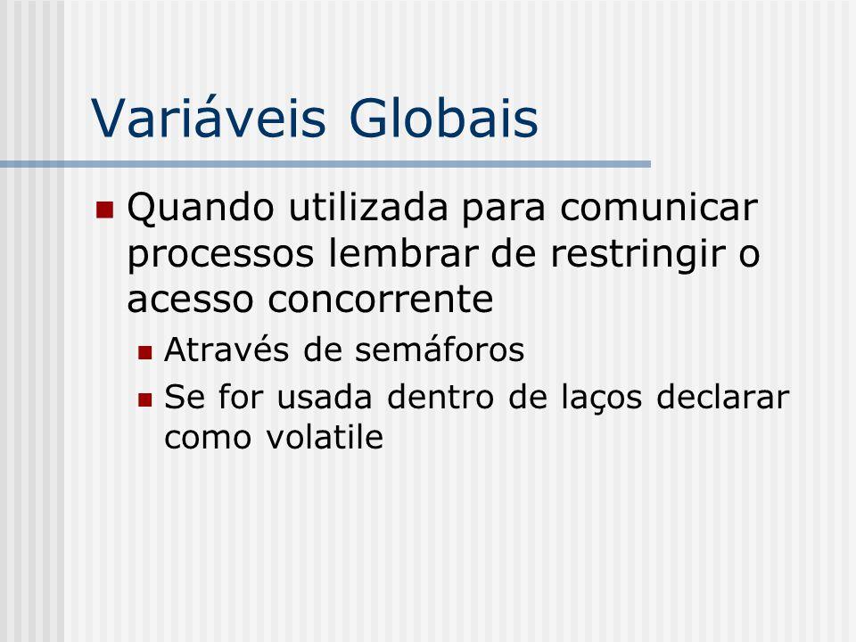Variáveis Globais Quando utilizada para comunicar processos lembrar de restringir o acesso concorrente Através de semáforos Se for usada dentro de laços declarar como volatile