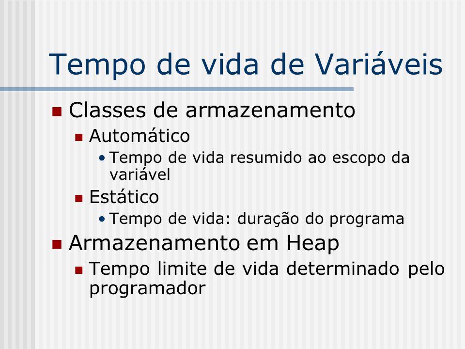 Tempo de vida de Variáveis Classes de armazenamento Automático Tempo de vida resumido ao escopo da variável Estático Tempo de vida: duração do program