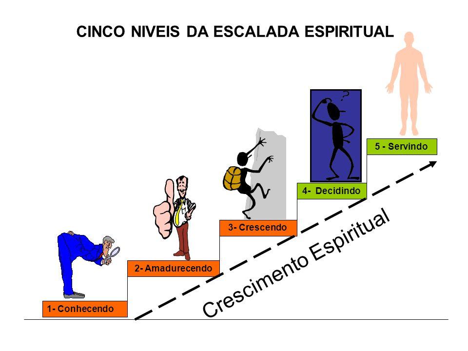 CINCO NIVEIS DA ESCALADA ESPIRITUAL 1- Conhecendo 2- Amadurecendo3- Crescendo4- Decidindo5 - Servindo Crescimento Espiritual