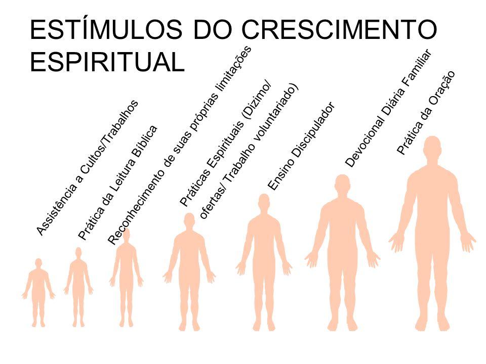 ESTÍMULOS DO CRESCIMENTO ESPIRITUAL Prática da Oração Prática da Leitura Bíblica Assistência a Cultos/Trabalhos Práticas Espirituais (Dizimo/ ofertas/