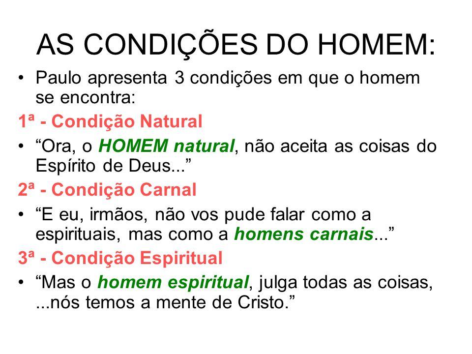 AS CONDIÇÕES DO HOMEM: Paulo apresenta 3 condições em que o homem se encontra: 1ª - Condição Natural Ora, o HOMEM natural, não aceita as coisas do Esp