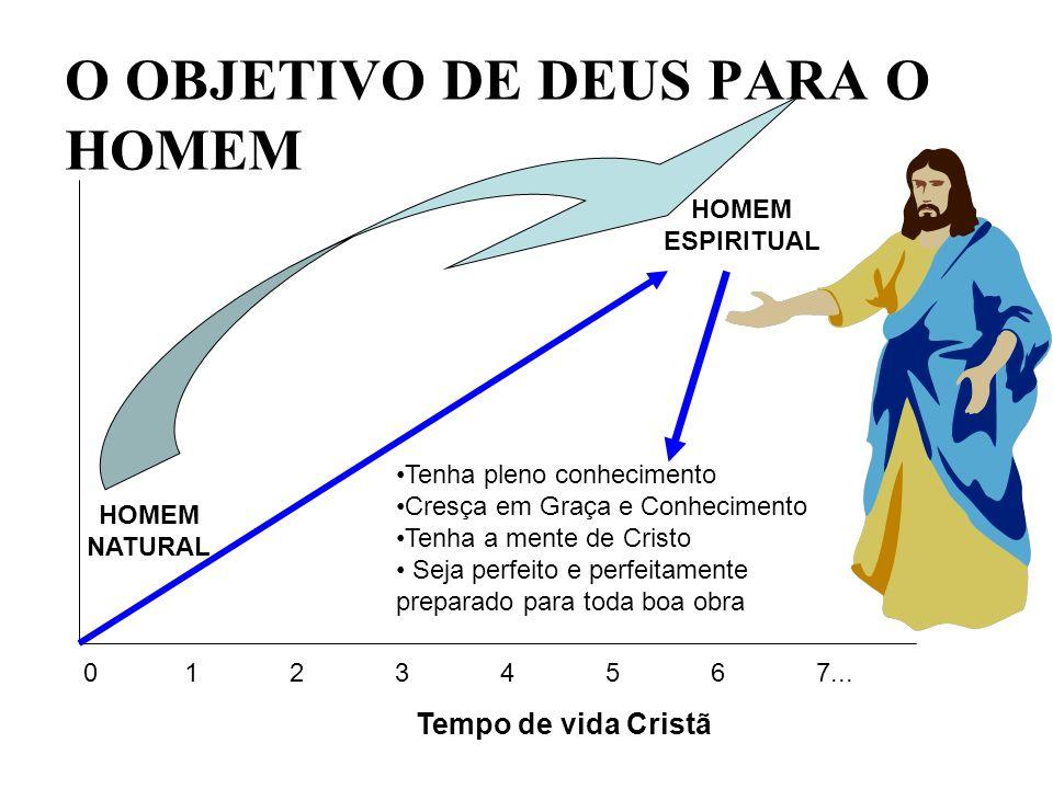 O OBJETIVO DE DEUS PARA O HOMEM 0 1234567... Tempo de vida Cristã HOMEM NATURAL Tenha pleno conhecimento Cresça em Graça e Conhecimento Tenha a mente