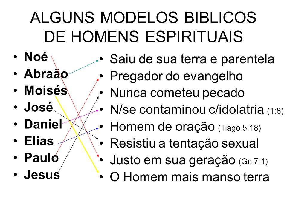 ALGUNS MODELOS BIBLICOS DE HOMENS ESPIRITUAIS Noé Abraão Moisés José Daniel Elias Paulo Jesus Saiu de sua terra e parentela Pregador do evangelho Nunc
