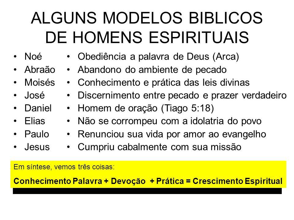 ALGUNS MODELOS BIBLICOS DE HOMENS ESPIRITUAIS Noé Abraão Moisés José Daniel Elias Paulo Jesus Obediência a palavra de Deus (Arca) Abandono do ambiente