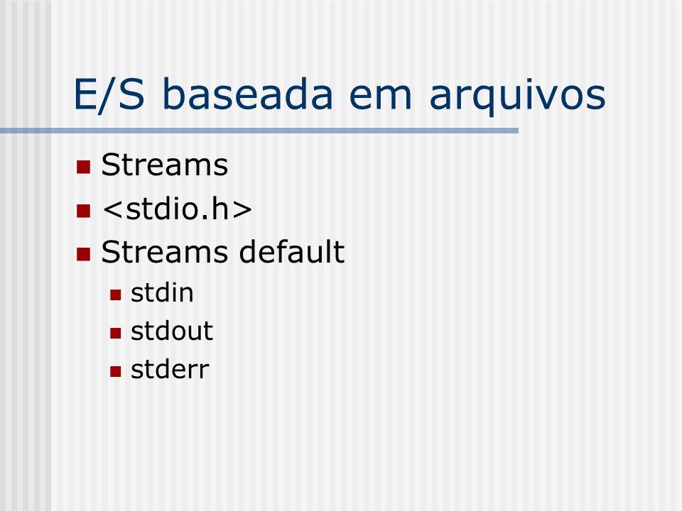 E/S baseada em arquivos Streams Streams default stdin stdout stderr