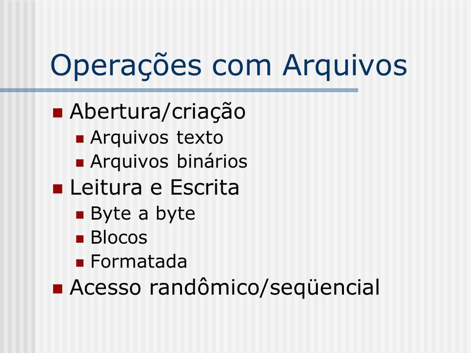 Operações com Arquivos Abertura/criação Arquivos texto Arquivos binários Leitura e Escrita Byte a byte Blocos Formatada Acesso randômico/seqüencial