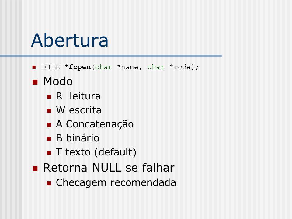 Abertura FILE *fopen(char *name, char *mode); Modo R leitura W escrita A Concatenação B binário T texto (default) Retorna NULL se falhar Checagem reco
