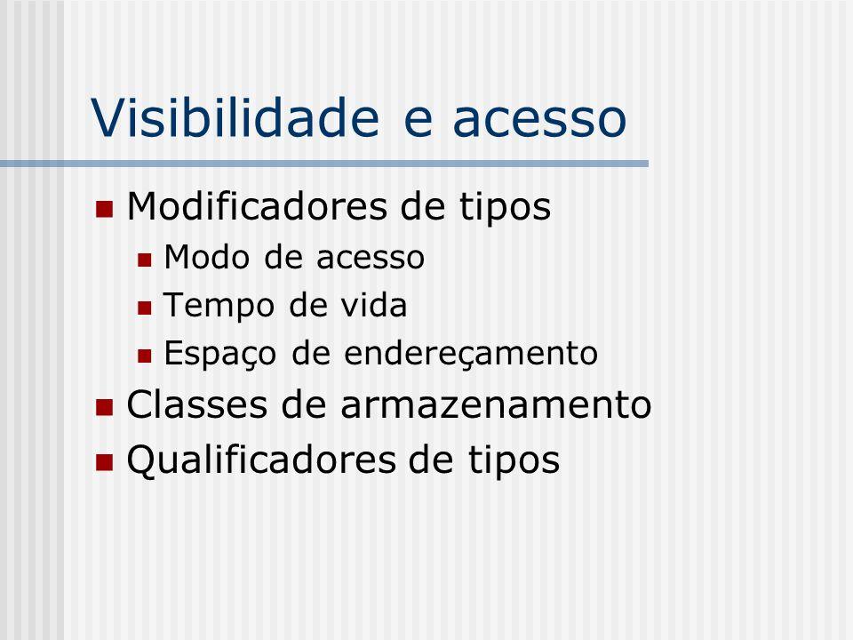 Visibilidade e acesso Modificadores de tipos Modo de acesso Tempo de vida Espaço de endereçamento Classes de armazenamento Qualificadores de tipos