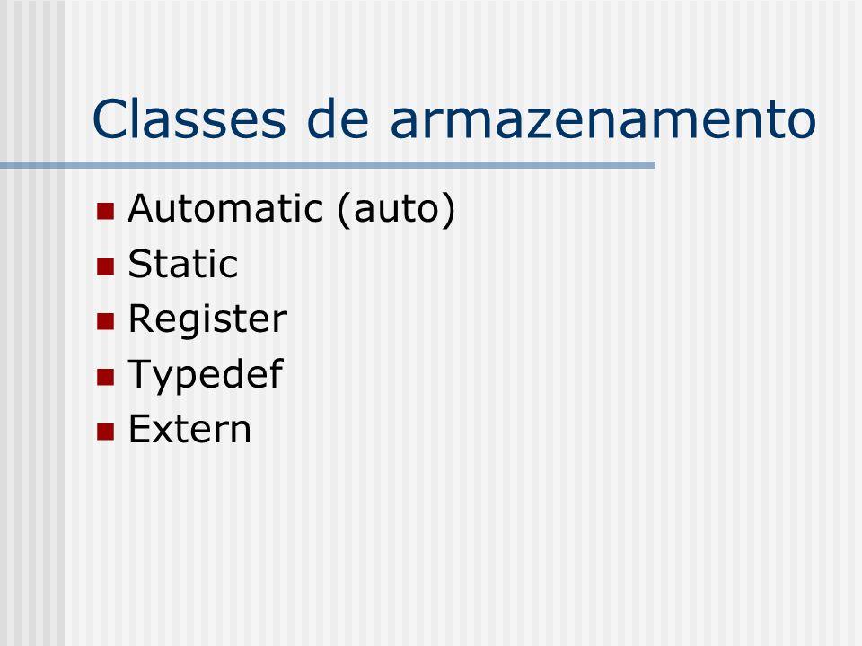 Classes de armazenamento Automatic (auto) Static Register Typedef Extern