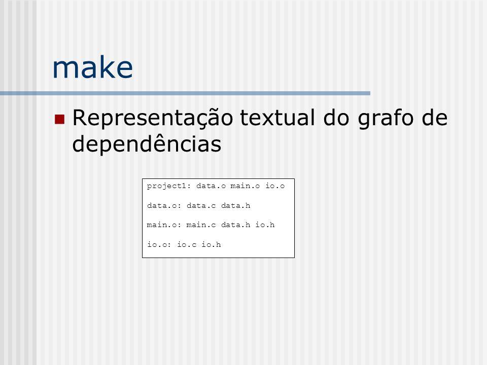 make Representação textual do grafo de dependências project1: data.o main.o io.o data.o: data.c data.h main.o: main.c data.h io.h io.o: io.c io.h