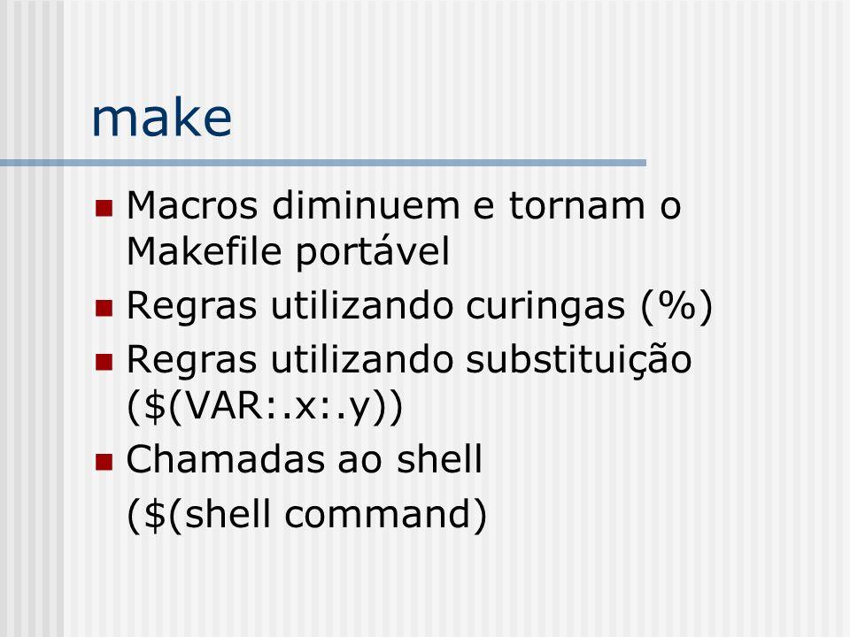 make Macros diminuem e tornam o Makefile portável Regras utilizando curingas (%) Regras utilizando substituição ($(VAR:.x:.y)) Chamadas ao shell ($(sh