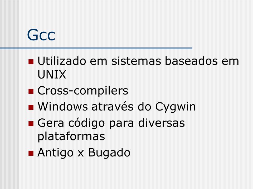 Gcc Utilizado em sistemas baseados em UNIX Cross-compilers Windows através do Cygwin Gera código para diversas plataformas Antigo x Bugado