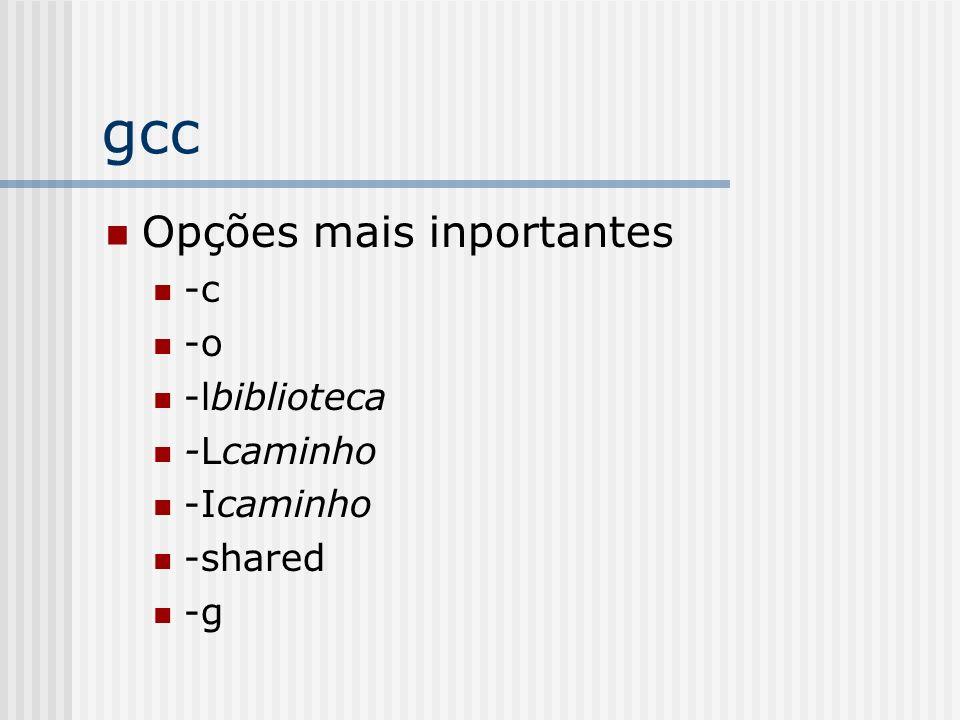 gcc Opções mais inportantes -c -o -lbiblioteca -Lcaminho -Icaminho -shared -g