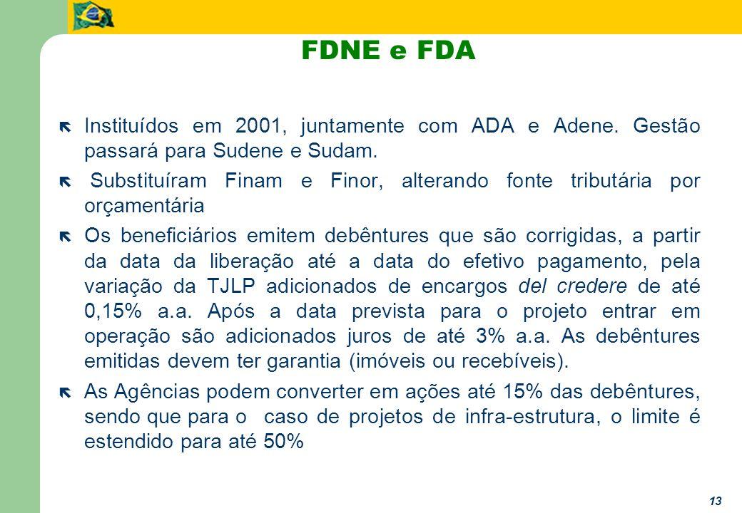 13 FDNE e FDA ë Instituídos em 2001, juntamente com ADA e Adene. Gestão passará para Sudene e Sudam. ë Substituíram Finam e Finor, alterando fonte tri
