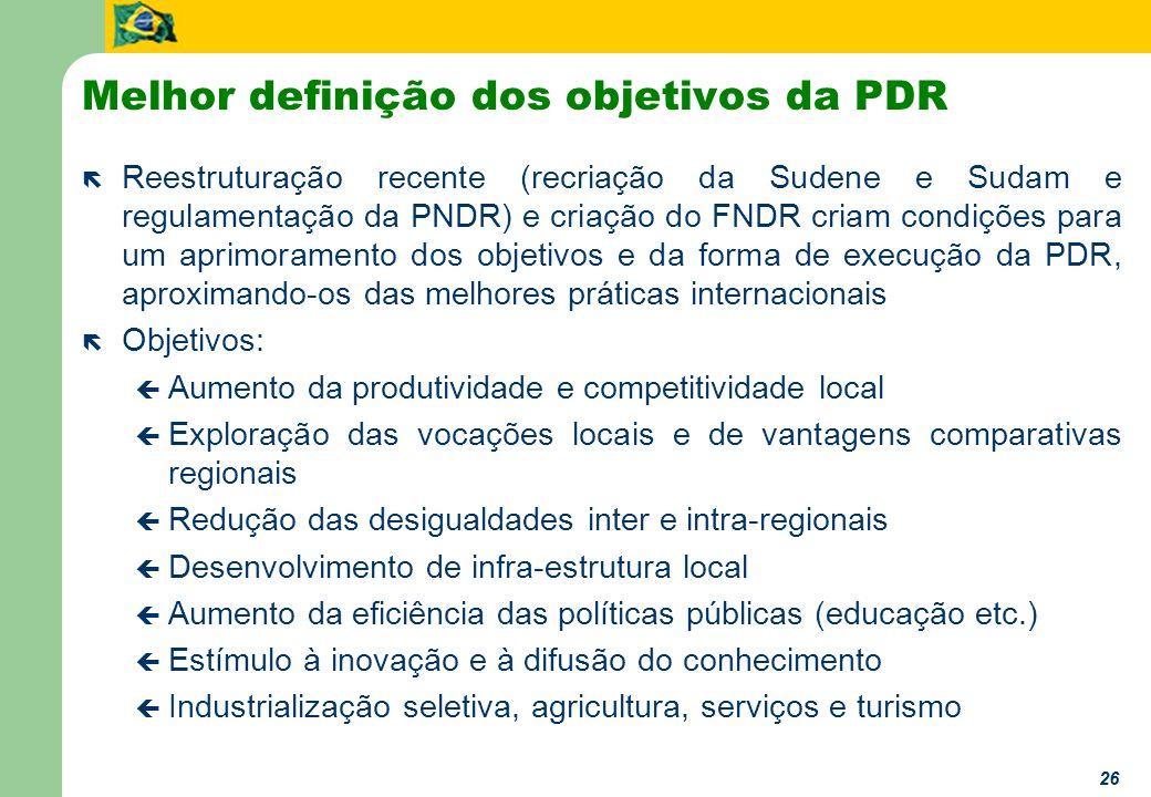 26 Melhor definição dos objetivos da PDR ë Reestruturação recente (recriação da Sudene e Sudam e regulamentação da PNDR) e criação do FNDR criam condi