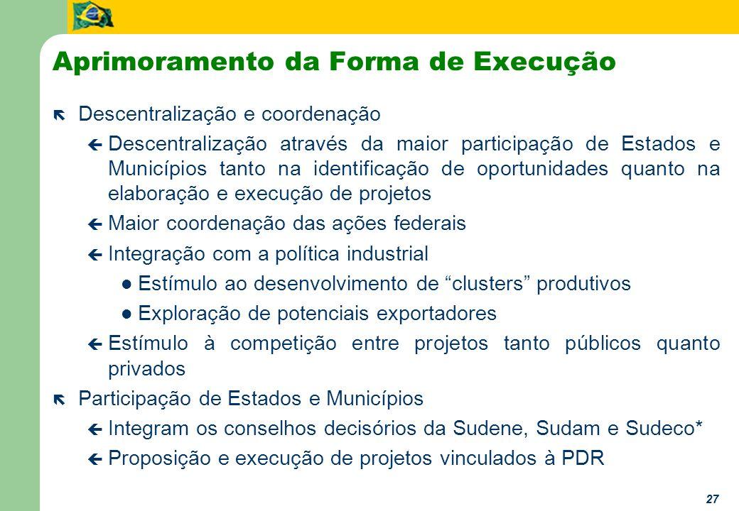 27 Aprimoramento da Forma de Execução ë Descentralização e coordenação ç Descentralização através da maior participação de Estados e Municípios tanto