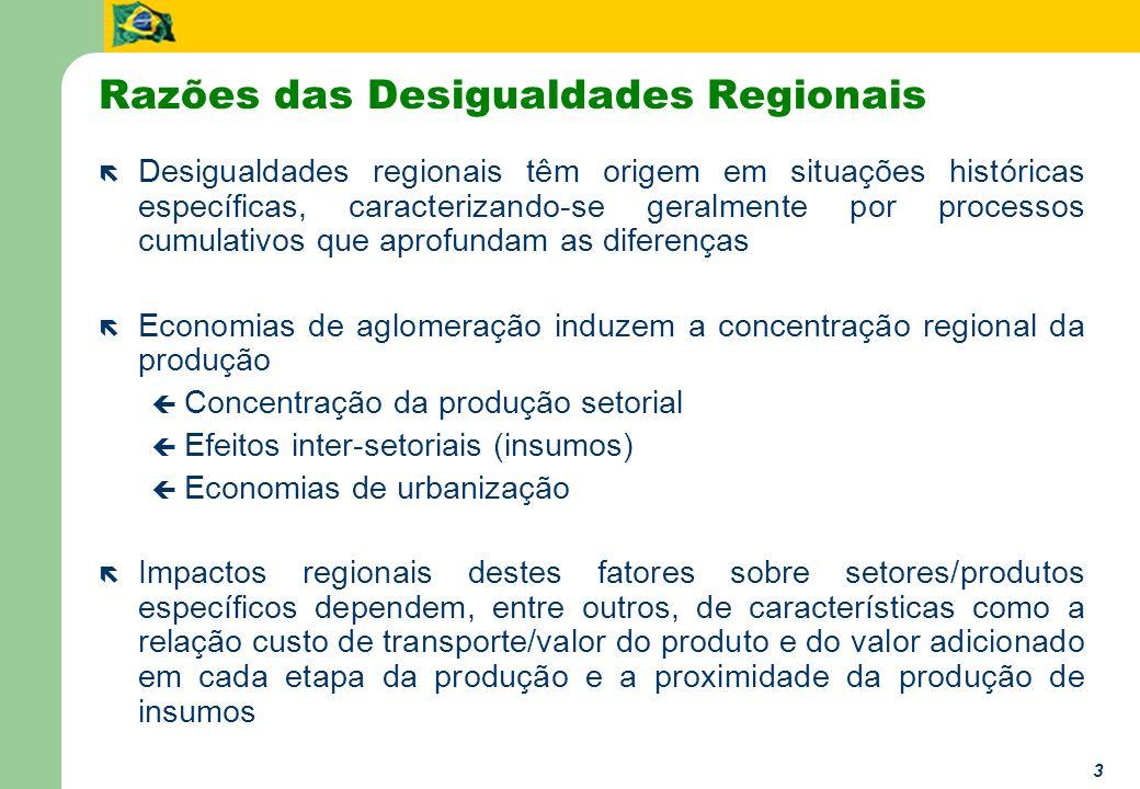 3 Razões das Desigualdades Regionais ë Desigualdades regionais têm origem em situações históricas específicas, caracterizando-se geralmente por proces