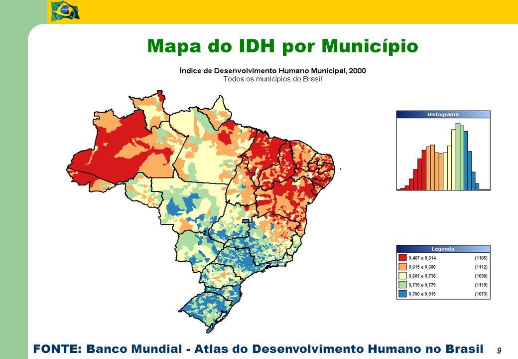9 Mapa do IDH por Município FONTE: Banco Mundial - Atlas do Desenvolvimento Humano no Brasil