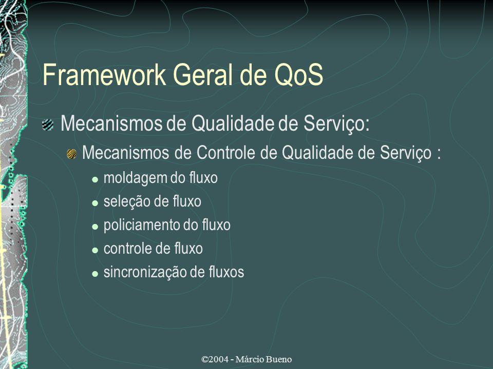 ©2004 - Márcio Bueno Framework Geral de QoS Mecanismos de Qualidade de Serviço: Mecanismos de Controle de Qualidade de Serviço : moldagem do fluxo sel