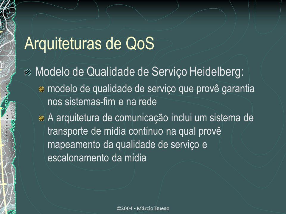 ©2004 - Márcio Bueno Arquiteturas de QoS Modelo de Qualidade de Serviço Heidelberg: modelo de qualidade de serviço que provê garantia nos sistemas-fim