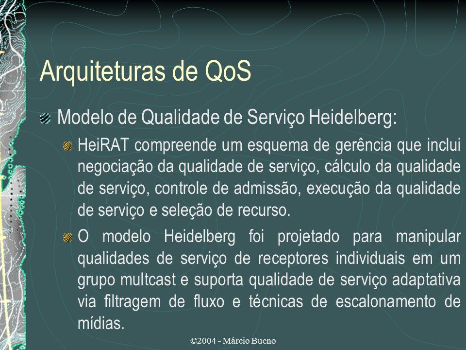 ©2004 - Márcio Bueno Arquiteturas de QoS Modelo de Qualidade de Serviço Heidelberg: HeiRAT compreende um esquema de gerência que inclui negociação da
