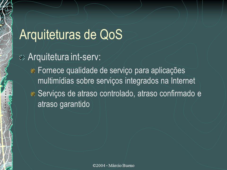 Arquiteturas de QoS Arquitetura int-serv: Fornece qualidade de serviço para aplicações multimídias sobre serviços integrados na Internet Serviços de a