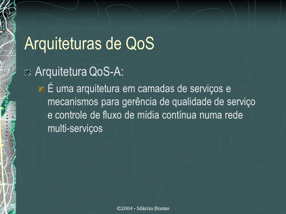 Arquiteturas de QoS Arquitetura QoS-A: É uma arquitetura em camadas de serviços e mecanismos para gerência de qualidade de serviço e controle de fluxo