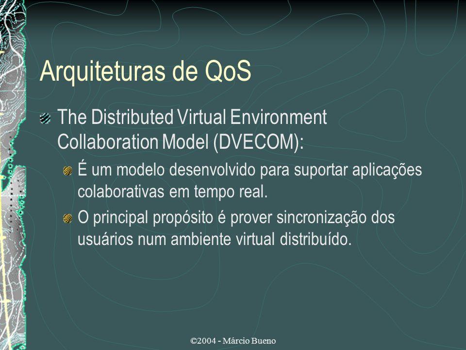 Arquiteturas de QoS The Distributed Virtual Environment Collaboration Model (DVECOM): É um modelo desenvolvido para suportar aplicações colaborativas