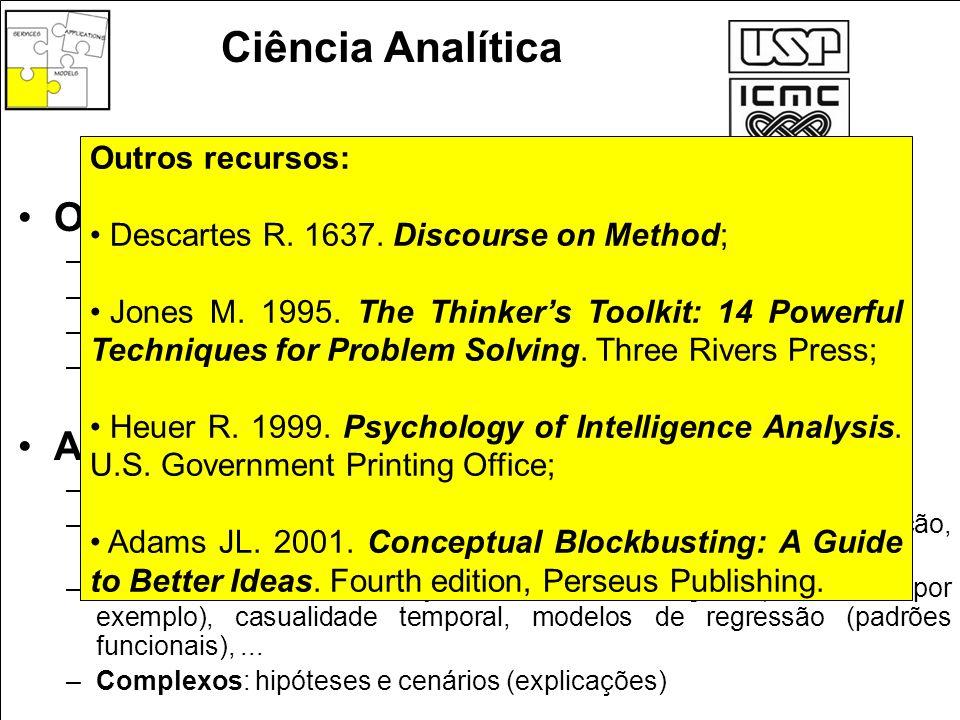 Ciência Analítica Objetivos: –Avaliar –Prever –Identificar alternativas –Suporte à decisão Artefatos de racionalização: –Elementares: dados individuai