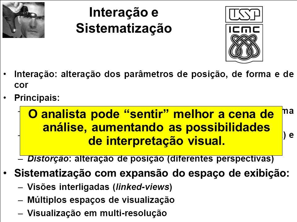 Interação e Sistematização Interação: alteração dos parâmetros de posição, de forma e de cor Principais: –Filtragem interativa: alteração de cor (brus