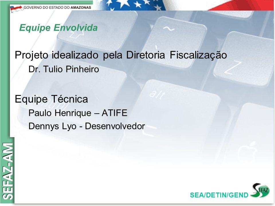 SEA/DETIN/GEND Equipe Envolvida Projeto idealizado pela Diretoria Fiscalização Dr. Tulio Pinheiro Equipe Técnica Paulo Henrique – ATIFE Dennys Lyo - D