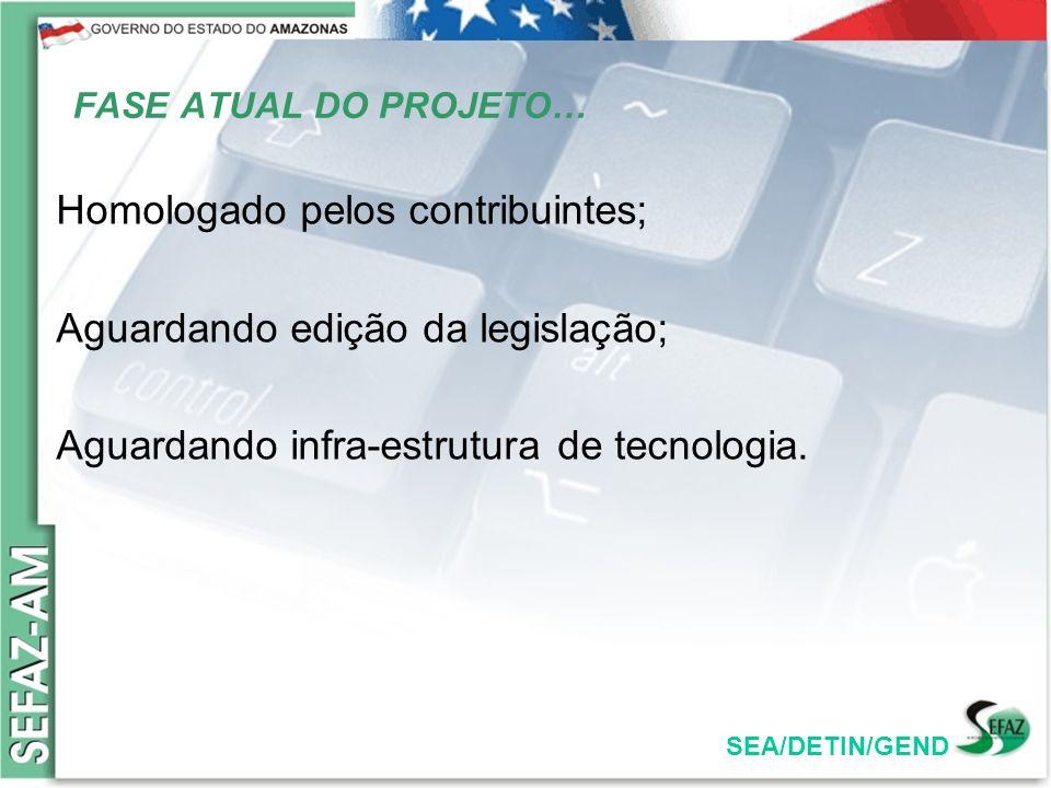 FASE ATUAL DO PROJETO… Homologado pelos contribuintes; Aguardando edição da legislação; Aguardando infra-estrutura de tecnologia.