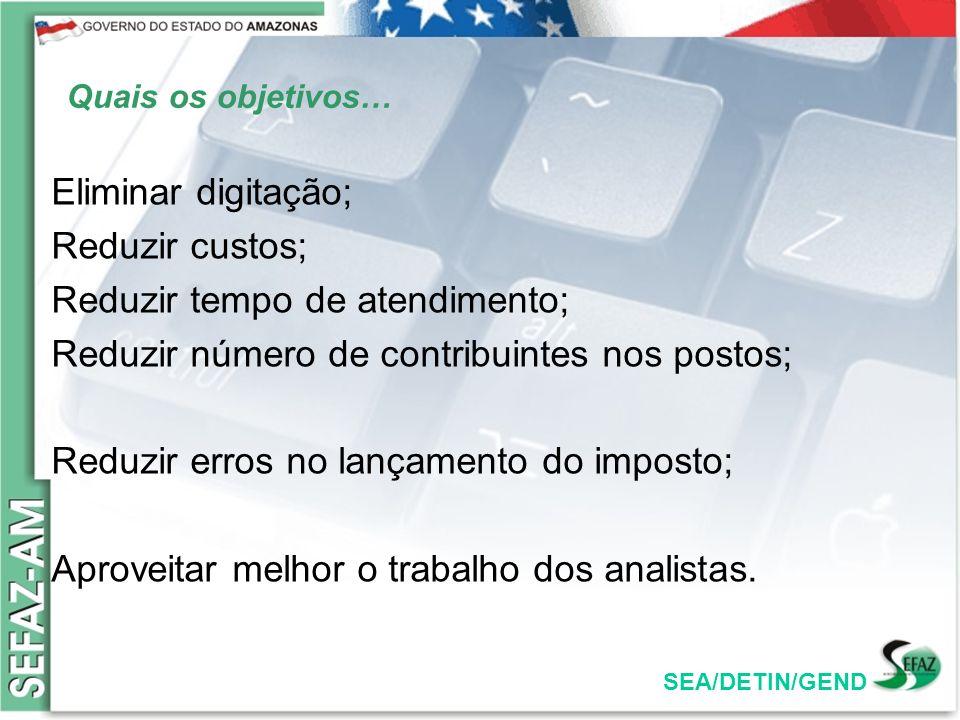 SEA/DETIN/GEND Quais os objetivos… Eliminar digitação; Reduzir custos; Reduzir tempo de atendimento; Reduzir número de contribuintes nos postos; Reduz