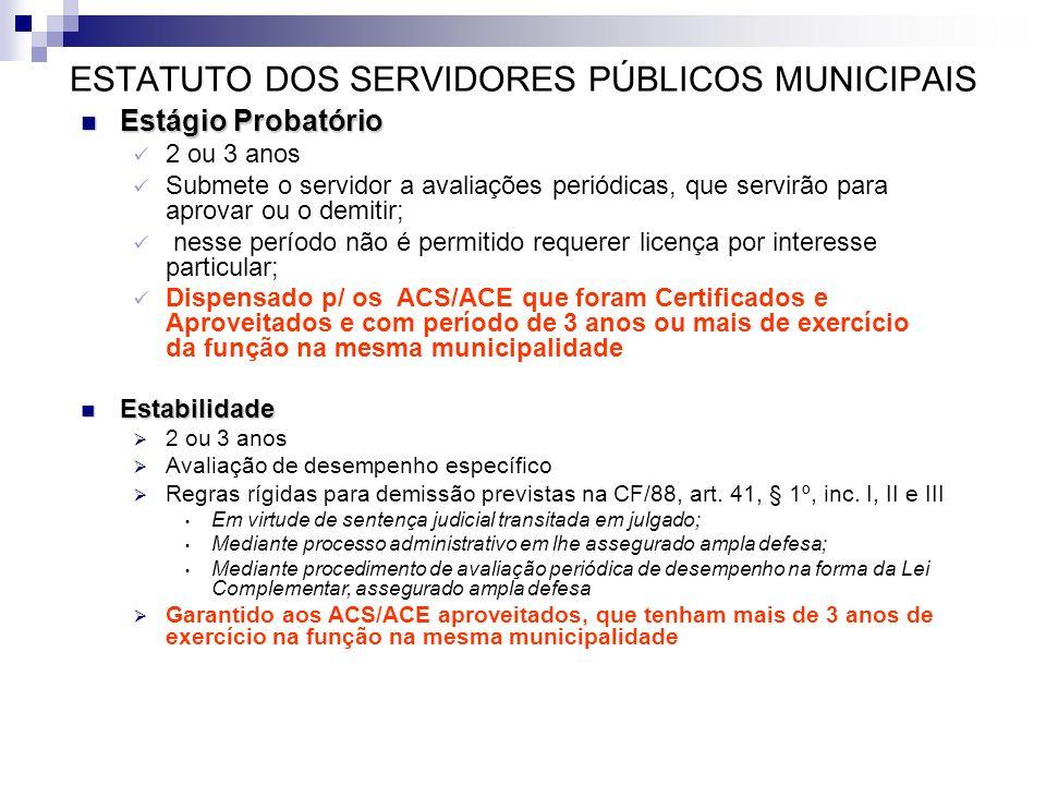 ESTATUTO DOS SERVIDORES PÚBLICOS MUNICIPAIS Estágio Probatório Estágio Probatório 2 ou 3 anos Submete o servidor a avaliações periódicas, que servirão