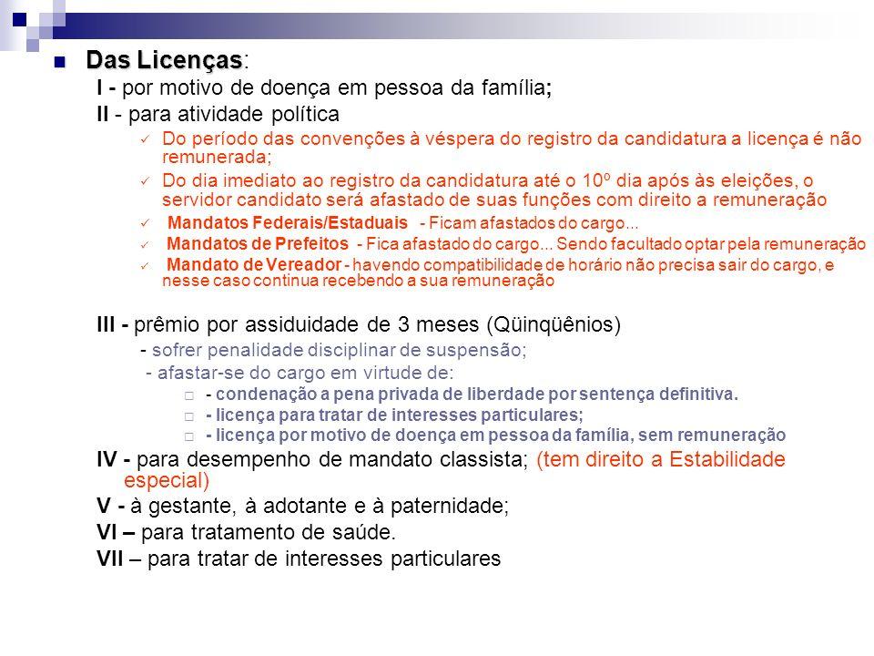 Das Licenças Das Licenças: I - por motivo de doença em pessoa da família; II - para atividade política Do período das convenções à véspera do registro