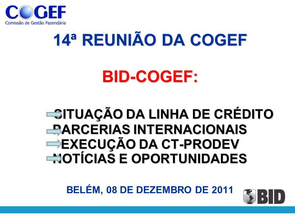 14ª REUNIÃO DA COGEF BID-COGEF: SITUAÇÃO DA LINHA DE CRÉDITO PARCERIAS INTERNACIONAIS EXECUÇÃO DA CT-PRODEV NOTÍCIAS E OPORTUNIDADES 14ª REUNIÃO DA CO