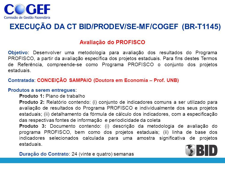 Avaliação do PROFISCO Objetivo: Desenvolver uma metodologia para avaliação dos resultados do Programa PROFISCO, a partir da avaliação específica dos p