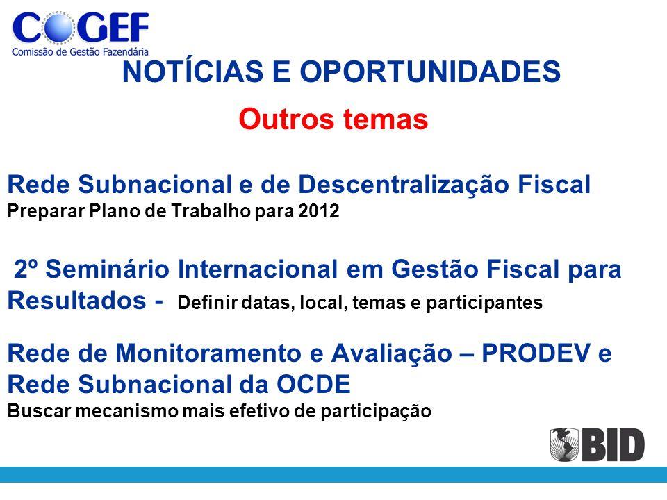 Rede Subnacional e de Descentralização Fiscal Preparar Plano de Trabalho para 2012 2º Seminário Internacional em Gestão Fiscal para Resultados - Defin