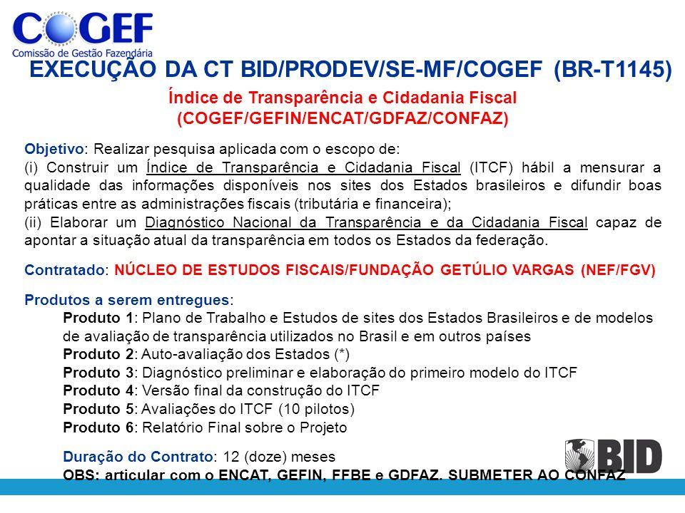 Índice de Transparência e Cidadania Fiscal (COGEF/GEFIN/ENCAT/GDFAZ/CONFAZ) Objetivo: Realizar pesquisa aplicada com o escopo de: (i) Construir um Índ