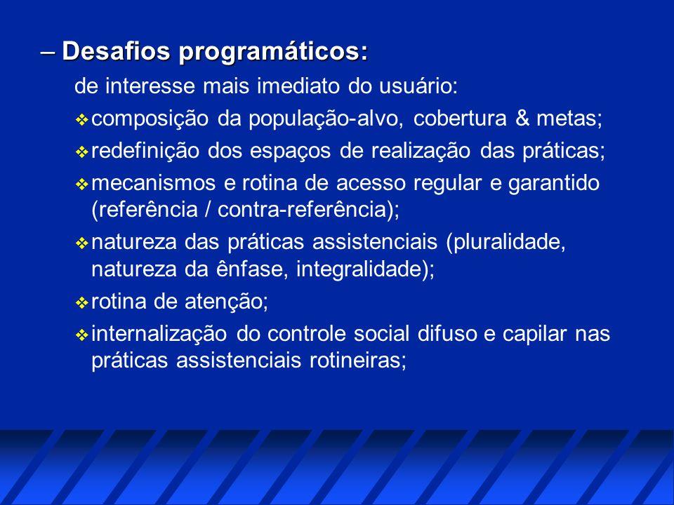 –Desafios programáticos: de interesse mais imediato do usuário: v composição da população-alvo, cobertura & metas; v redefinição dos espaços de realiz