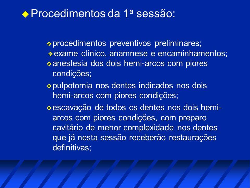 u Procedimentos da 1 a sessão: v procedimentos preventivos preliminares; v exame clínico, anamnese e encaminhamentos; v anestesia dos dois hemi-arcos