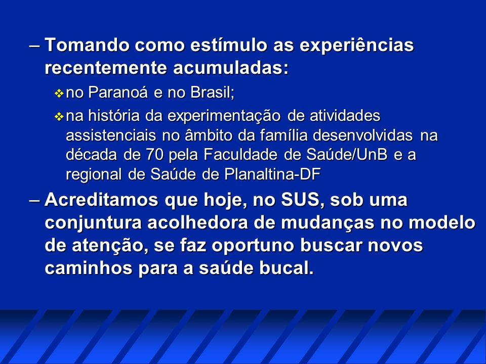 –Tomando como estímulo as experiências recentemente acumuladas: v no Paranoá e no Brasil; v na história da experimentação de atividades assistenciais