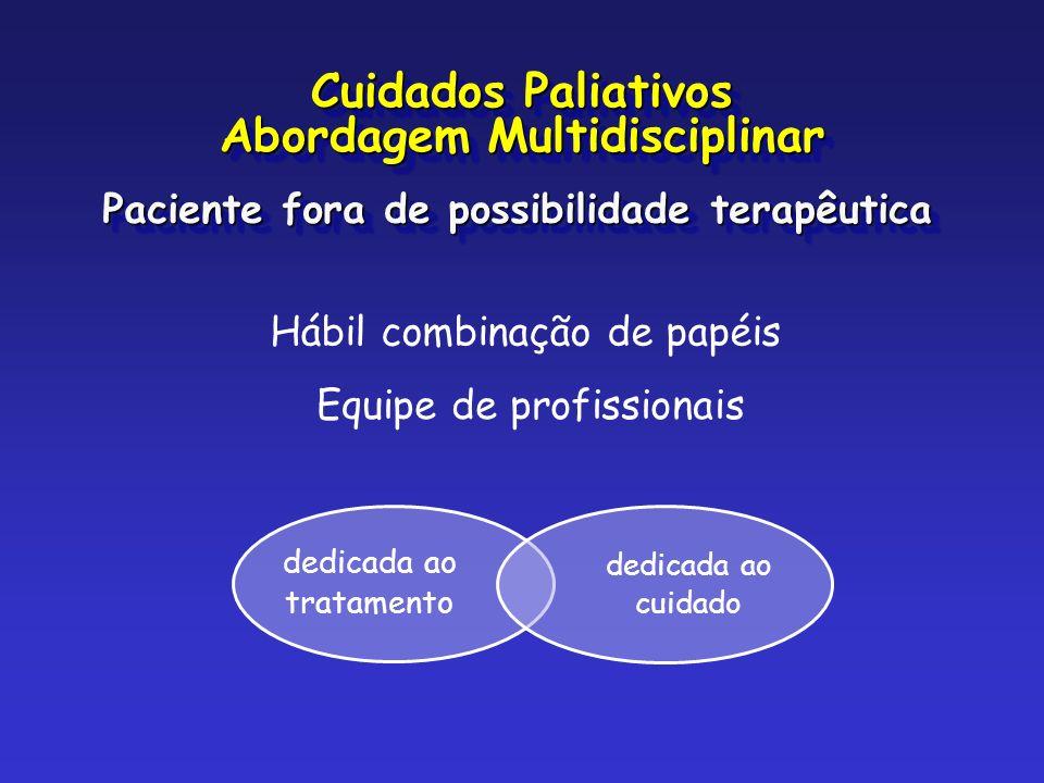 dedicada ao tratamento dedicada ao cuidado Hábil combinação de papéis Equipe de profissionais Paciente fora de possibilidade terapêutica Cuidados Pali