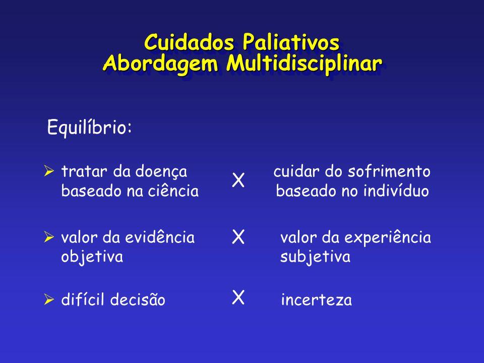 Equilíbrio: tratar da doença cuidar do sofrimento baseado na ciência baseado no indivíduo valor da evidência valor da experiência objetiva subjetiva X